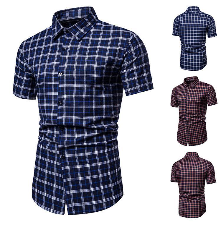 mens di marca nuova camicia hawaiana di business creativo di moda personalizzata spiaggia tempo libero manica corta estate camicia del controllo degli uomini camicie