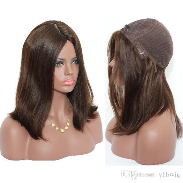 Pelucas Kosher 12A Marrón claro Color # 4 El mejor cabello humano virgen europeo Sedoso Recto 4x4 Base de seda Peluca judía Envío gratis rápido