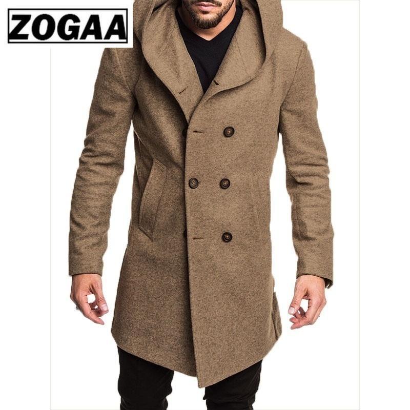ZOGAA Moda Mens Trench Jacket Primavera Outono Mens Overcoats Sólidos Brasão cores de lã Trench casual para homens Roupa 2019