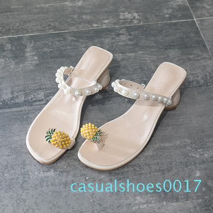 pantofole trasporto per le donne della moda rosso 2020 nuova estate di spessore tallone novità perla Pineapple Beach fredda trascinare tacco alto infradito c17