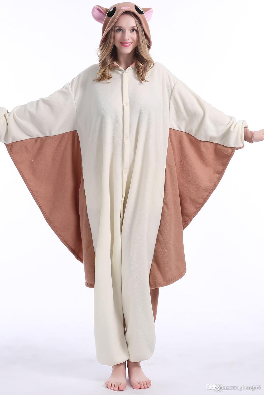 새로운 동물의 성인 전단지 마우스 잠옷 플라잉 다람쥐 Kigurumi Onesies 코스프레 의상 Unisex의 잠옷 크리스마스 선물