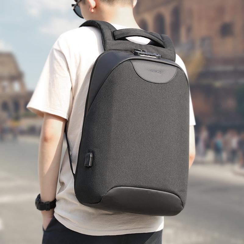 حقائب Tigernu مكافحة سرقة ذكر كمبيوتر محمول على الظهر USB مدرسة Splashproof للشباب الرجال حقائب تحمل على الظهر NO مفتاح قفل TSA مدرسة MochilaMX190903
