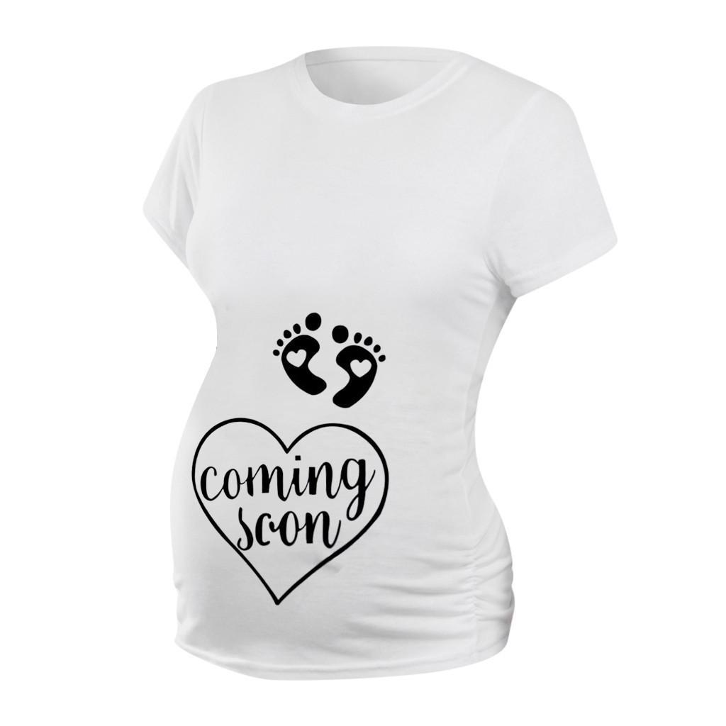 Simple d'été Nouveau Style Vêtements de maternité Empreintes de pas Coeur imprimé Lettre Hauts Confortables Europe et Amérique Grande Taille