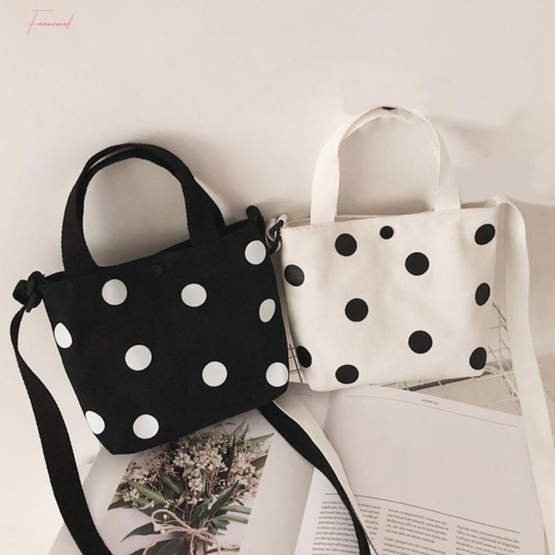 Fashion Vintage Women Canvas Handbags 2020 New Arrival Female Casual Polka Dot Zipper Simple Shoulder Bags