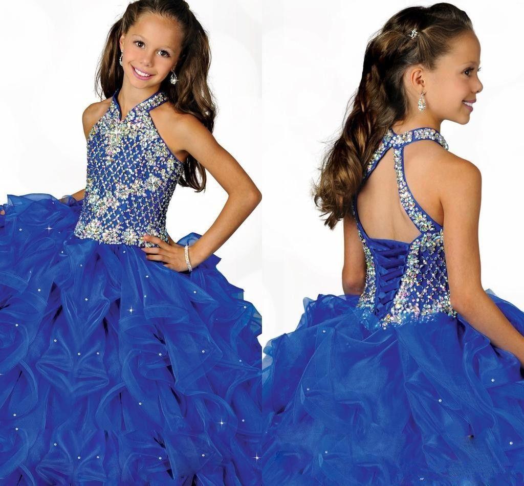 매혹적인 로얄 블루 2019 홀터넥 하이 넥 라인 소녀 걸이 옷차림 무늬 페르시 벨트 파란색 구슬 무늬 블루 오간기 플라워 걸 드레스
