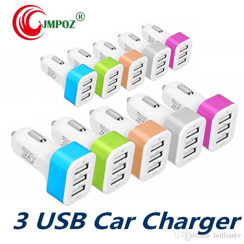 Alta Qualidade Universal Veículo USB Car Charger Liga de Alumínio 3 Portas USB Para Android Inteligente Carregador de Carro Do Telefone para a Apple iPhone X XS