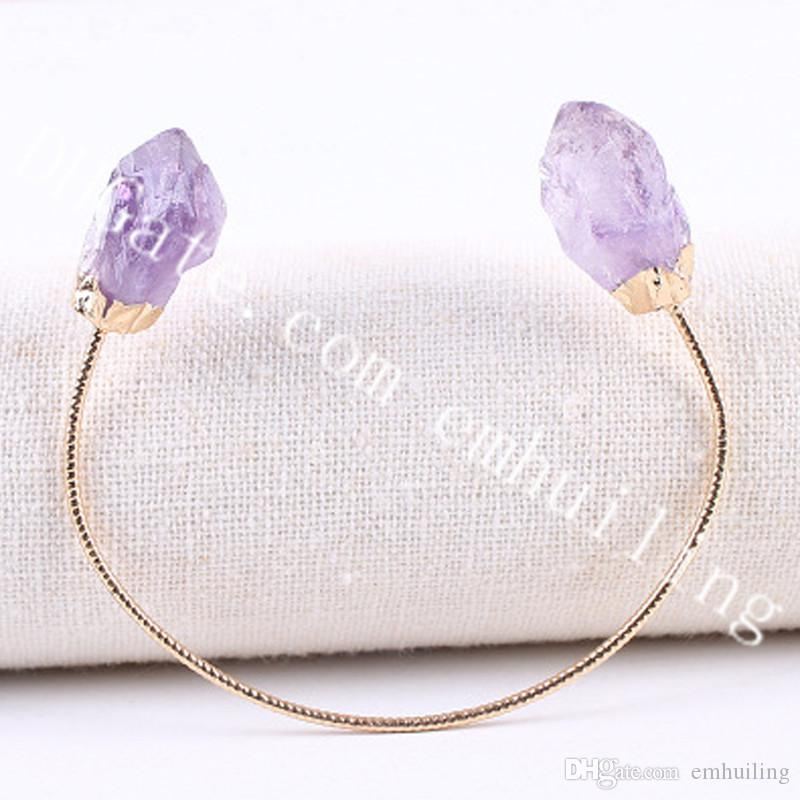 10pcs Dual Natural Raw Amethyst Citrine Point Gemstone Bangle Jewelry Titanium Coated Heart Rainbow White Druzy Stone Adjustable Cuff Bangle
