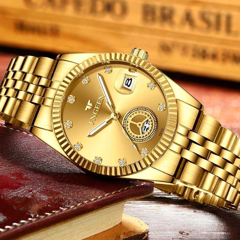 Relojes para hombre de nuevos hombres de oro a prueba de agua de acero del cuarzo del reloj masculino completo Calendario Luminoso Relogio Masculino