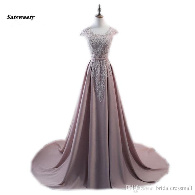 Modest Long Chiffon Lace Evening Dresses 2019 Appliques Plus Size Mum A-line Prom Gowns Vestido De Madrinha