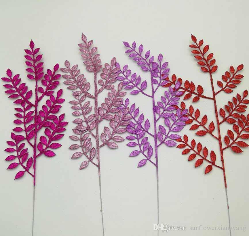 20 pcs 45 cm Glitter Em Pó Folha Ramo Arranjo De Flores Para Festa de Natal Árvore Venun Pendurado Decoração