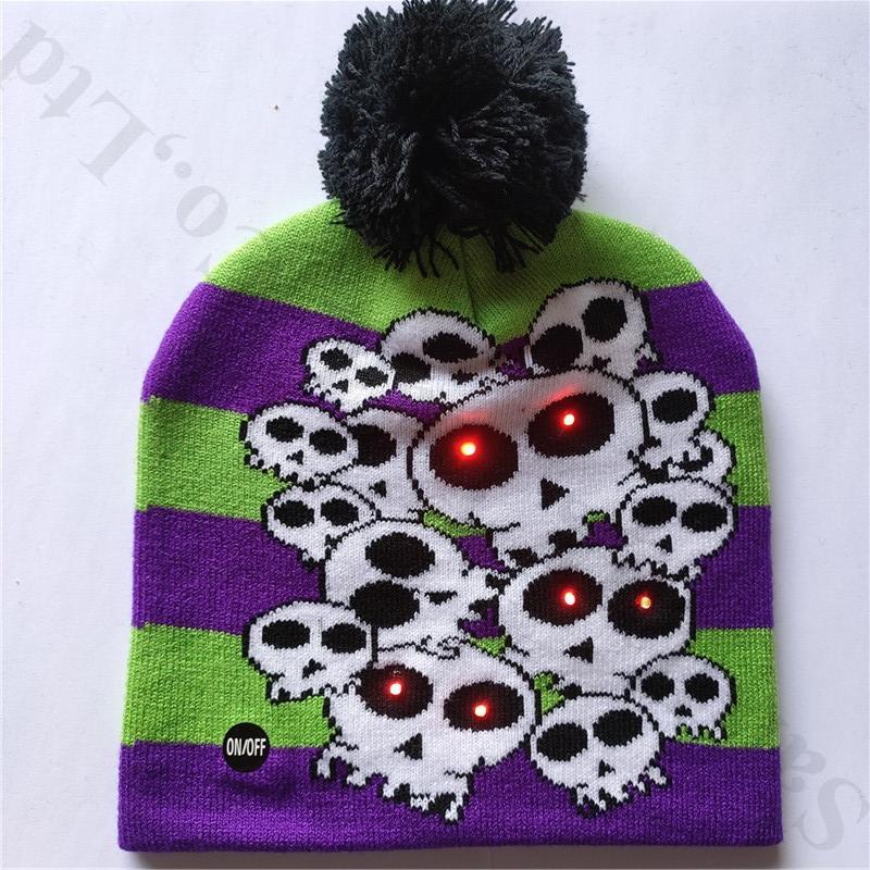 16 Styles LED Juniors Knit Hats Winter Warm Snowman Light-up Beanie Caps Unisex Pumpkin Skull Cap Pompon Ball Hat for Xmas Halloween B82103