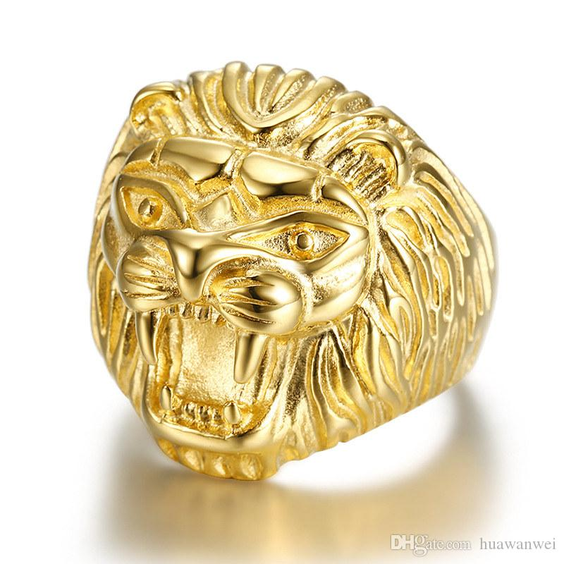 Доминирование голова льва кольцо органа ювелирных изделия высокого качество титан стало литье сила кольца партии годовщины подарки мужчин