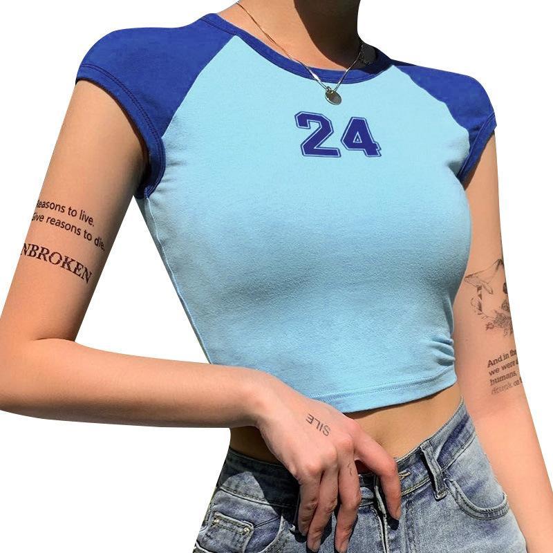 Cortar número 24 Womens tops de manga curta Verão Camiseta Contraste azul t-shirt Slim Fit Femme Tshirts