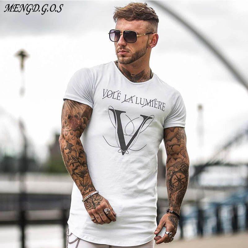 2019 MENGDGOS marchio di moda rotonde abbigliamento casual palestre degli uomini degli uomini del collo uomini della T-shirt T-shirt jogger bodybuilding breve Y200611 manica