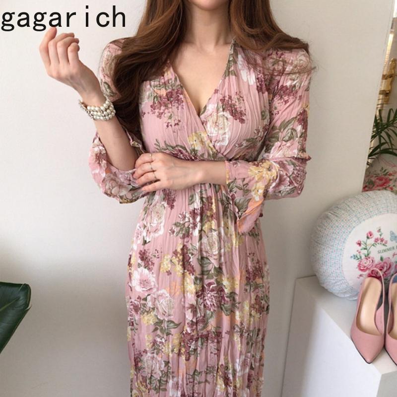 Gagarich manica lunga abito di stile coreano elegante scollo a V disegno della traversa vita alta Strap pieghe Manica a campana floreali abiti in chiffon
