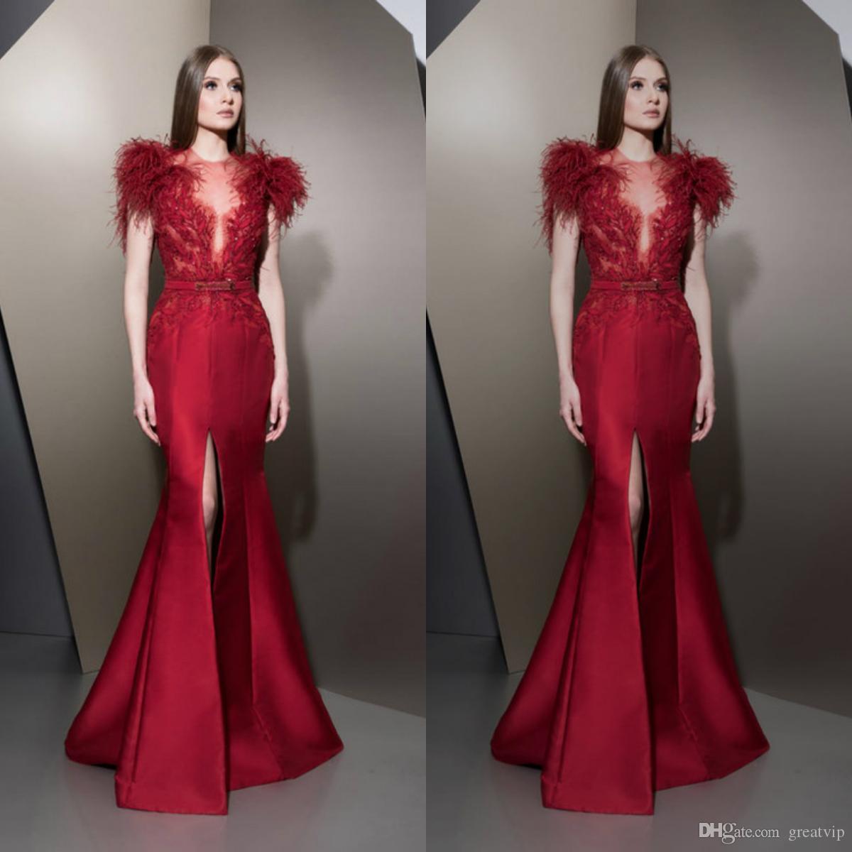 Ziad Nakad 고급 붉은 인어 이브닝 드레스 깃털 Applique 댄스 파티 플러스 사이즈 공식 파티 드레스 맞춤형 가운 De Soirée