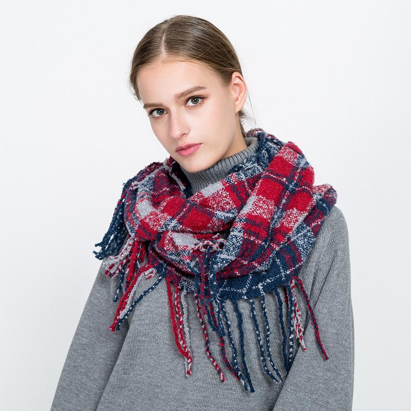 Девушка плед шарф кольцо женские пунктирные линии сетки шарфы кисточки проверки шарфы классические тартан обертываются шаль теплые зимние одеяло GGA2552