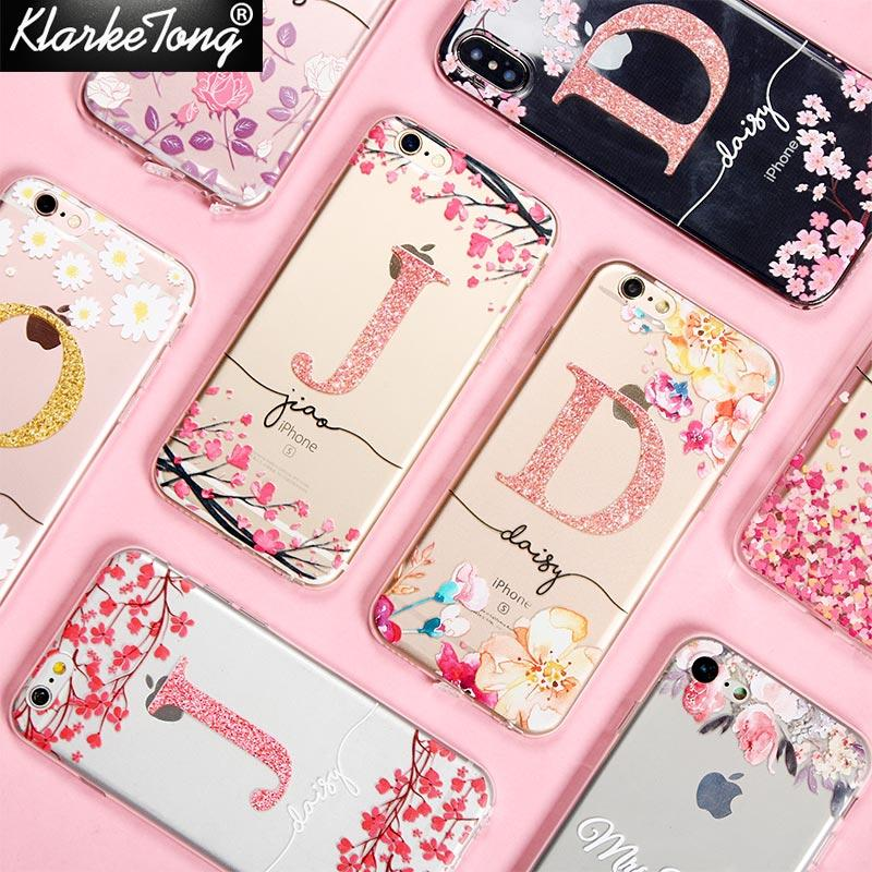 wholesale Cherry blossom Glitter Flower Name Custom Phone Case For iPhone XS MAX XR 8 7 6 Plus 5 5s Soft Clear Silicone Cover