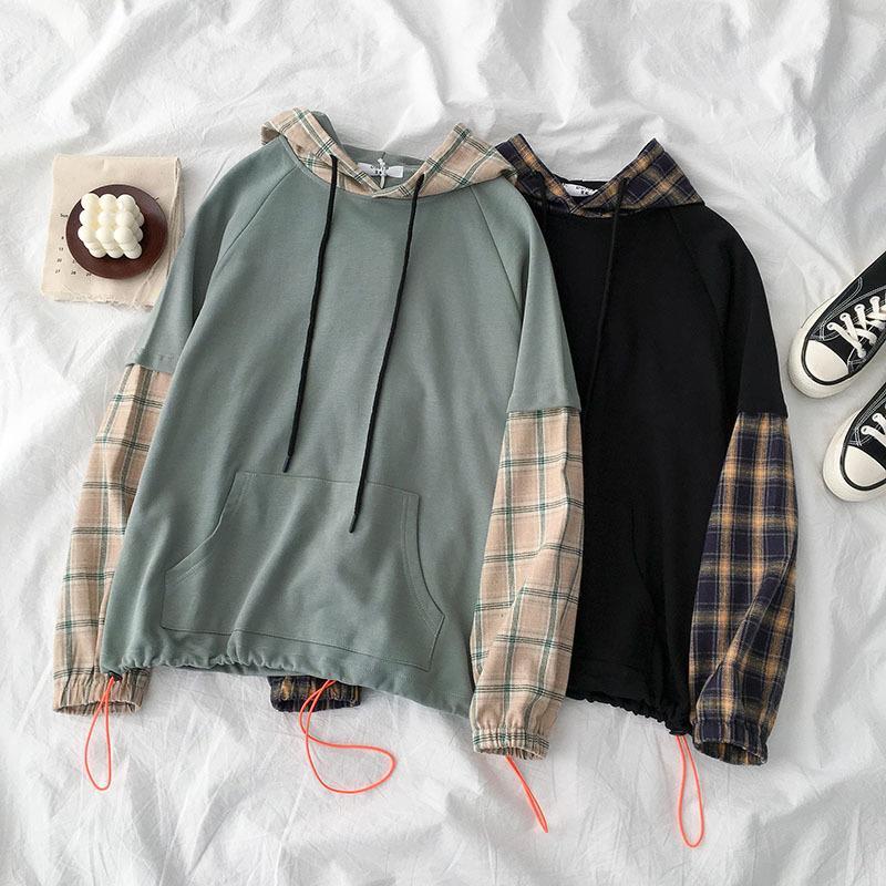 (ب) بلوزة مصنوعة من الخياطة المصنوعة من الخياطة (BF Style Patchwork Sweat Women Shondly Long Sleek Hooded Plaid Fashion Pullover)