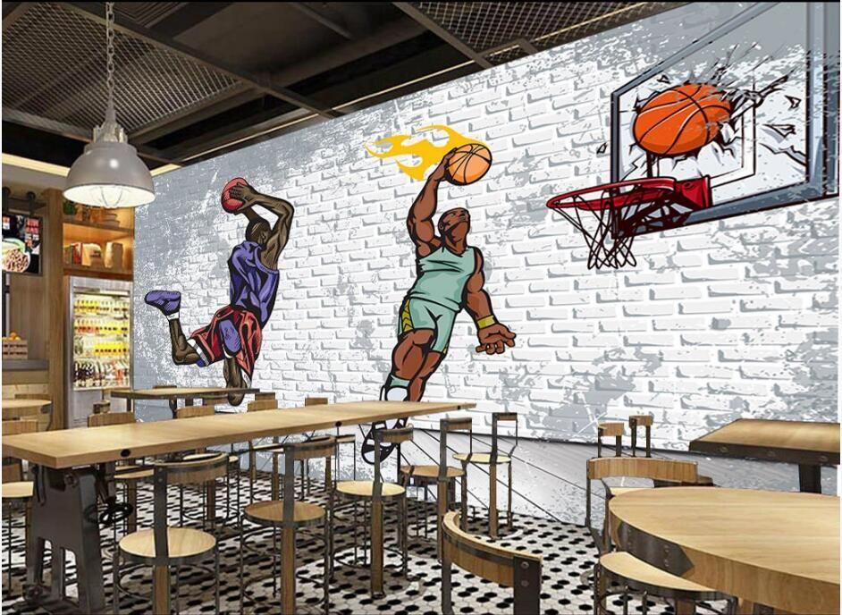 Wdbh 3d Wallpaper Custom Photo Nostalgic Brick Wall Basketball