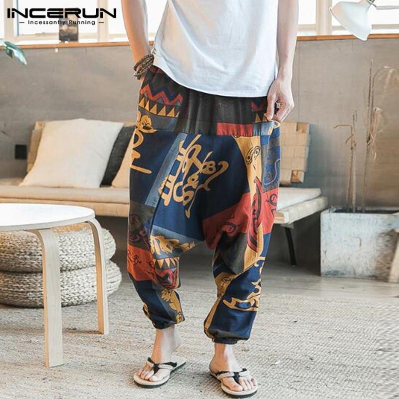 Baggy Lin Coton sarouel Hommes Hip-hop Femmes Taille Plus Pantalon large Casual Pantalon Vintage long Pantalones Hombre 2020 CY200518
