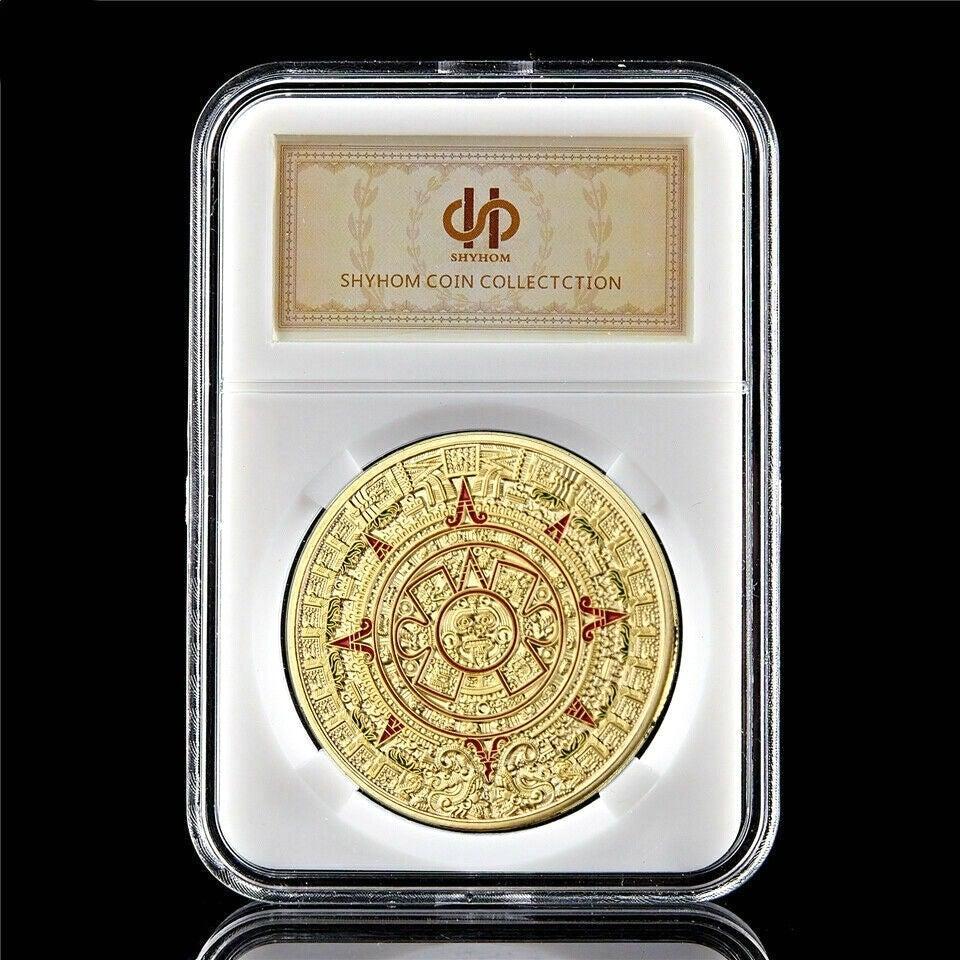 التذكارية عملة المايا التقويم ازتيك المكسيك 1OZ مطلية بالذهب التذكارية عملة النادرة W / PCCB صندوق