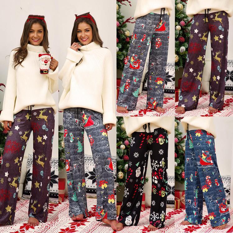 크리스마스 넓은 다리 바지 느슨한 긴 바지 눈사람 탄성 넓은 다리 바지 GGA2952-2를 졸라 매는 끈 여성 캐주얼 높은 허리 바지를 인쇄