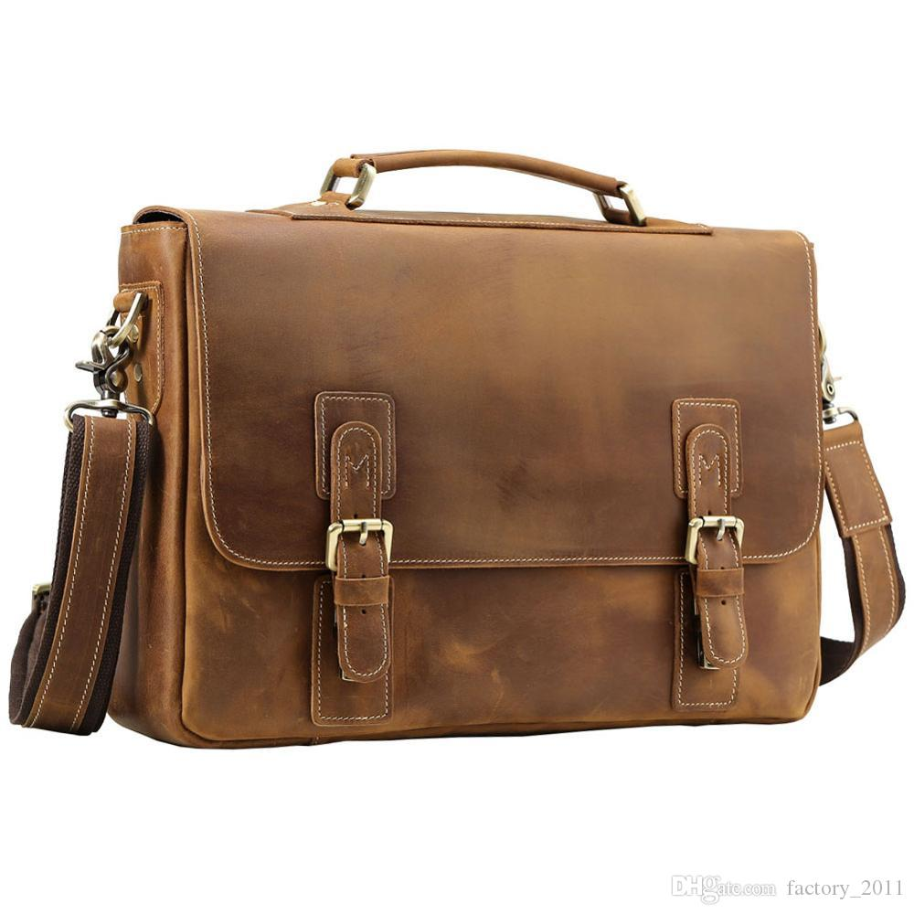 Shoulder Bags Mens Cowhide Shoulder Laptop Briefcase Genuine Leather Brown Messenger Bag with Wholesale Price and Free Shipping