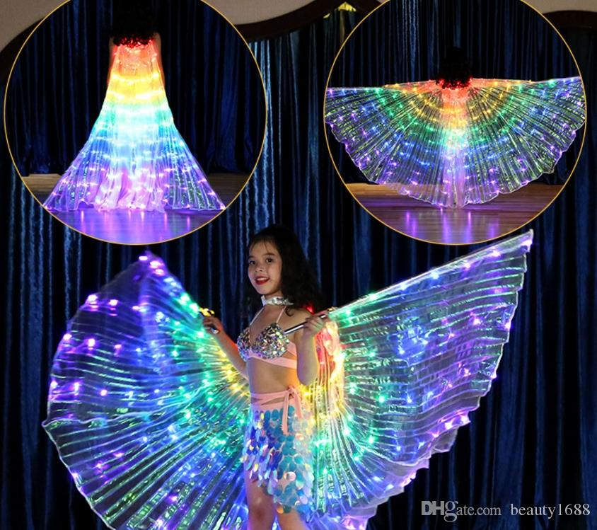 Children's Color LED light Wings Dance Belly Dance Performance Show Fluorescent Butterfly Cloak Dance Light Props Holiday Club Show wear Y48