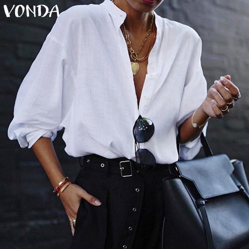 VONDA PLUS TAMAÑO DE TAMAÑO 2019 Oficina 2019 Lady Elegant Lantern Sleeve Profundo V Cuello Sólido Blusa Summer Sexy Mujeres Tops y Blusas