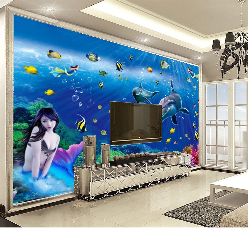 El fondo de mar exquisito del papel de empapelar 3d tiene un grupo de la sirena hermosa y pura Papel pintado hermoso y práctico de alta calidad 3d