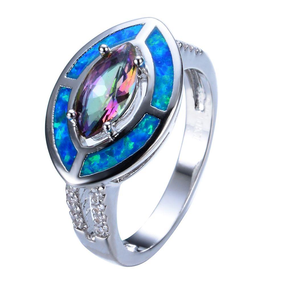 cLuckyShine de alta qualidade natural do arco-íris Místico C Sterling prata 925 Para o transporte Mulheres jewelty Anéis gratuito