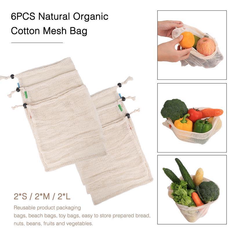 6PCS Sac maille en coton biologique naturel Fruits et légumes sac de rangement réutilisable Mesh Drawstring Pack cuisine Rangement outils