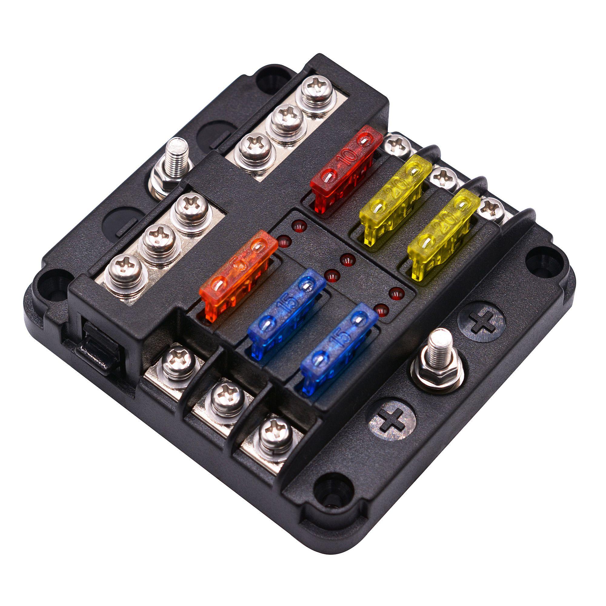 ST Blade Fuse Block مع مؤشر تحذير LED غطاء مقاوم للرطوبة - 6 دوائر مع ناقل سلبي فيوز بوكس لشاحنة RV للسيارة