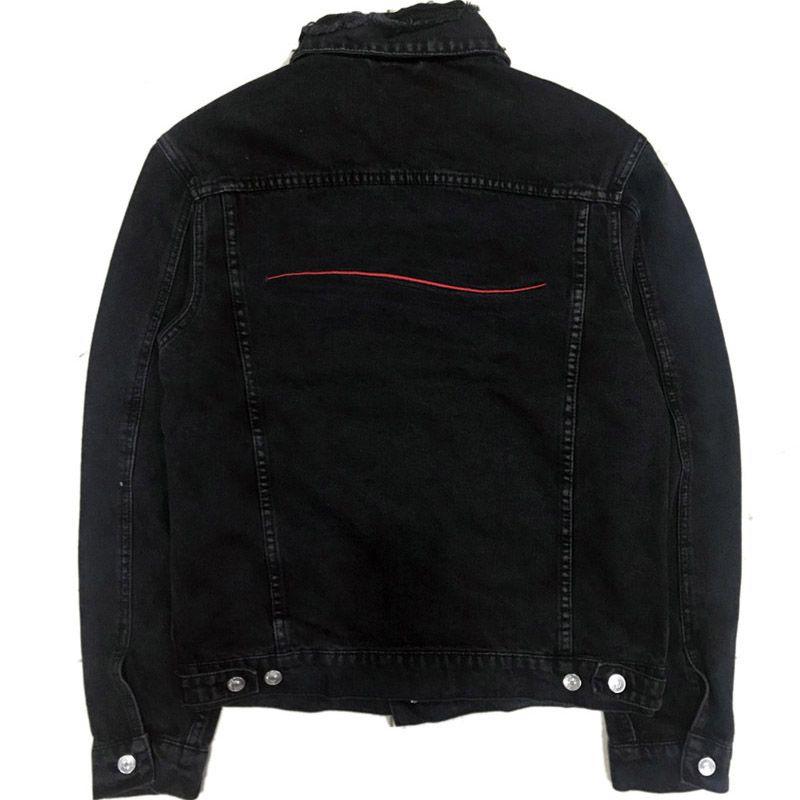 Famosa Mens Giacca di jeans donne degli uomini di alta qualità casuale cappotti neri Blu Moda Uomo Stylist tuta sportiva di formato M-XXL