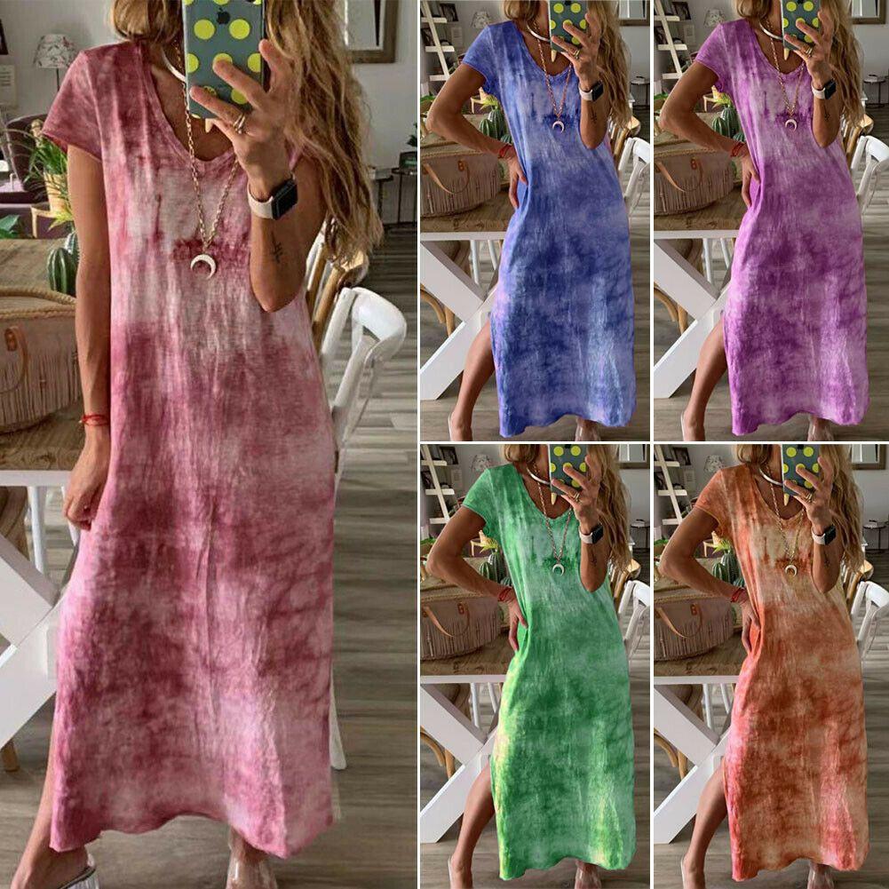 Мода Новый Пляж Стиль женщин Tie крашение печати Этнические Boho Хлопок Лен V образным вырезом с коротким рукавом Side Split Maxi платье плюс размер XXL