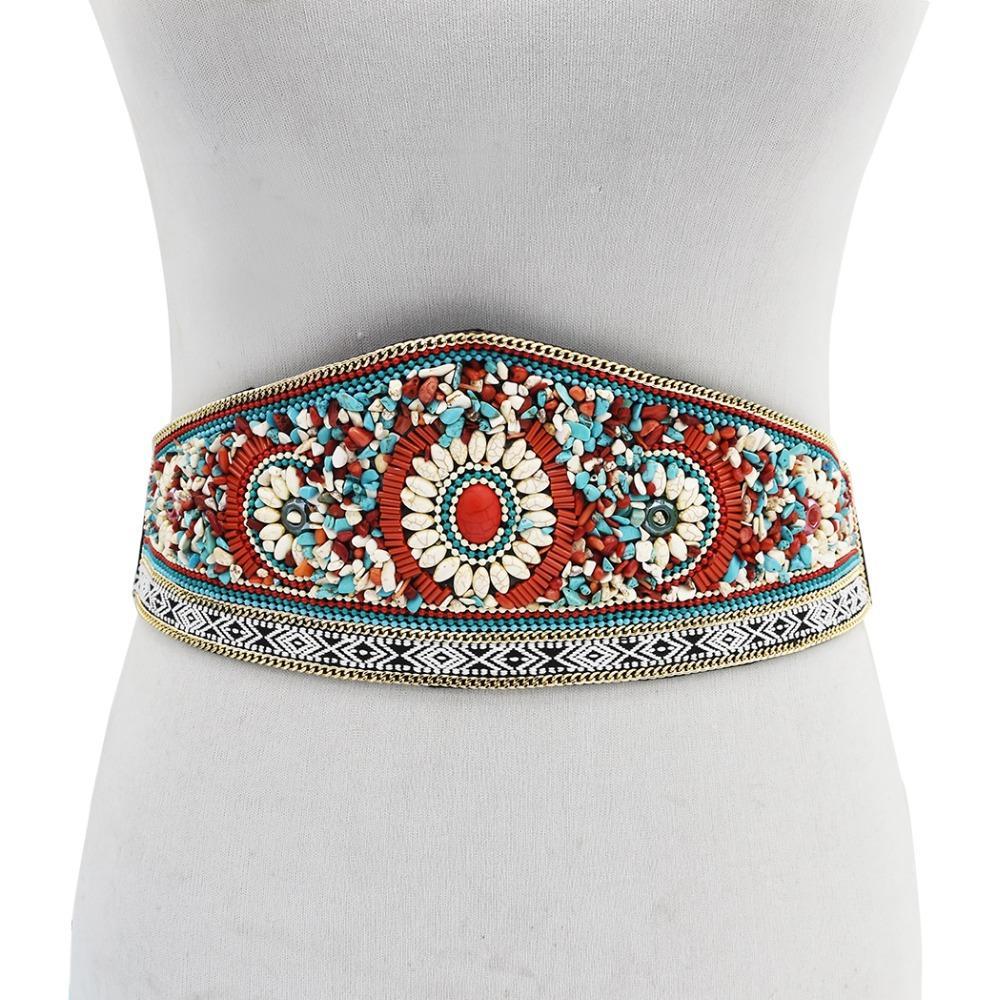 Богемский красочный цветок смолы шарик талии ремень Ремень платье пояс для женщин Египет искусственная кожа живота тела цепи ювелирные изделия Ближнего Востока