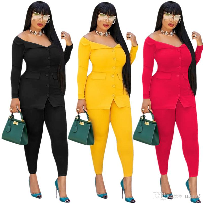 Abiti da donna Blazer Set di 2 pezzi con scollo a barchetta sulla spalla Pantaloni cardigan abiti leggings abbottonatura outwear giacca tute abbigliamento autunnale 1026