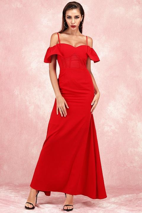 Calidad superior del hombro Red Long Dress Body Night Club Evening Party Bodycon Vestidos