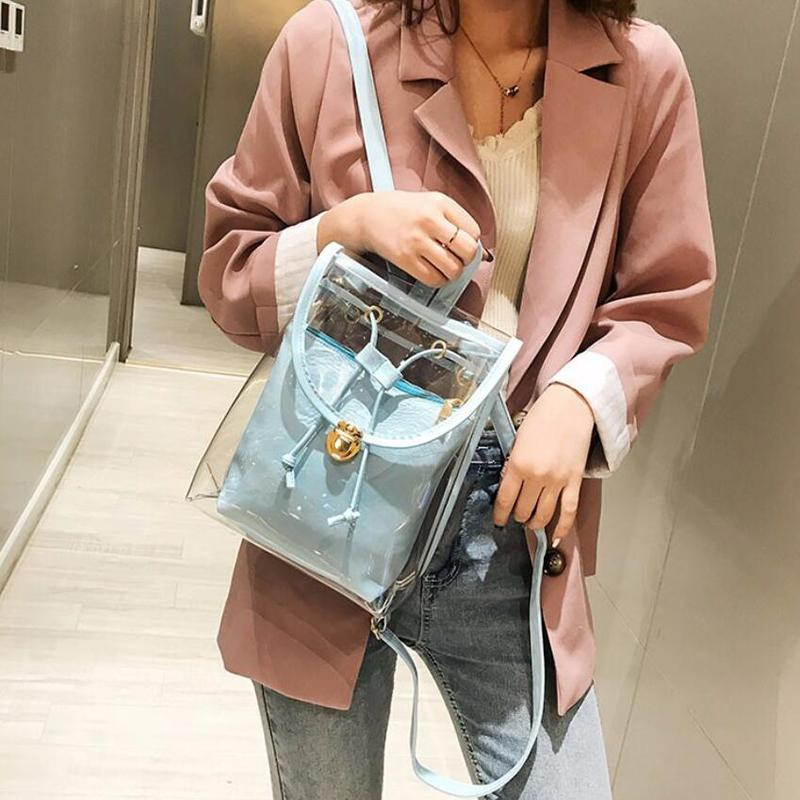 LKEEP High Quality PVC Transparent Women Backpack Candy Color Clear Rucksack For Teenage Girls Cute Jelly School Backpack