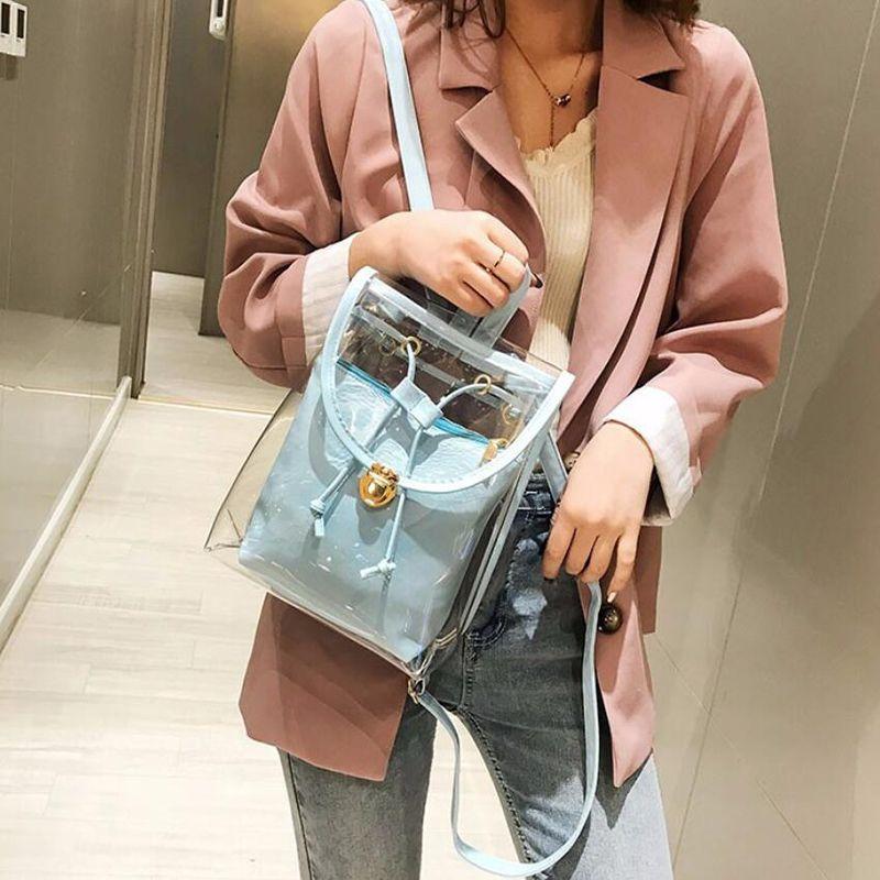 LAppuyez de haute qualité en PVC transparent Femmes Sac à dos bonbons couleur claires pour Jeunes filles Rucksack mignon sac à dos école gelée