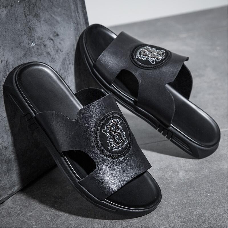 лучшее качество домашние тапочки 14factory выпускной мужская новая мода дизайнер обуви скольжения летом пляж сандалии флип тапочки дом крытый плоский г ФЛ