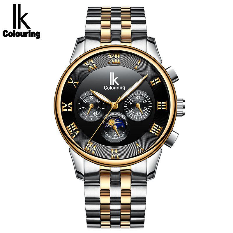 IK 색칠 손목 시계 남성 해골 기계식 자동 시계 스테인레스 스틸 스트랩 Relogio Masculino 남자 손목 시계