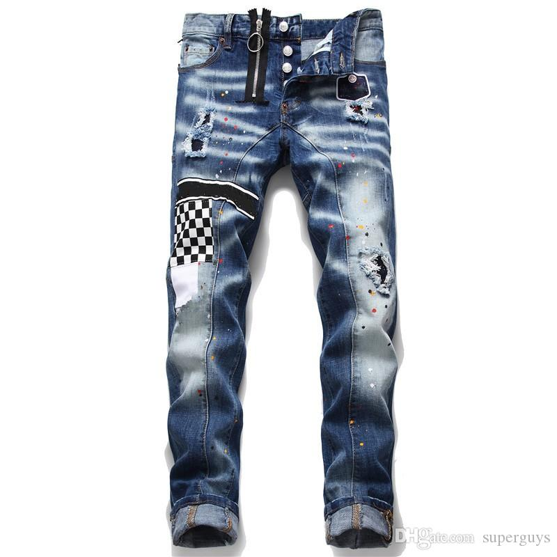 Mens Distressed Ripped Jeans Black Jeans Skinny Ripped Destroyed Stretch Slim Fit Hop Hop Pants Good Quality
