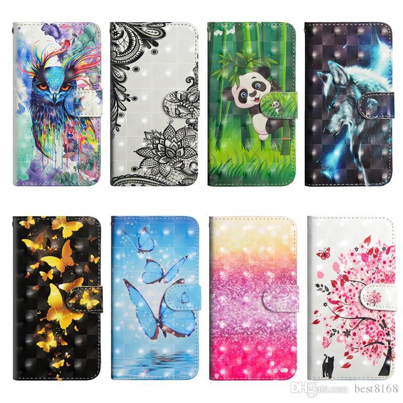 3D Leather Wallet Case For Galaxy A10S A20S A30S LG Stylo 5 K50 W10 K30 2019 Wolf Lace Flower Cartoon Panda ID Butterfly Tree Owl Flip Cover