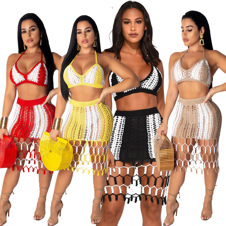 Womens Designer ensembles deux pièces lambrissé main Tied Plage 2PCS Fashion Slim Sexy Femme Vêtements