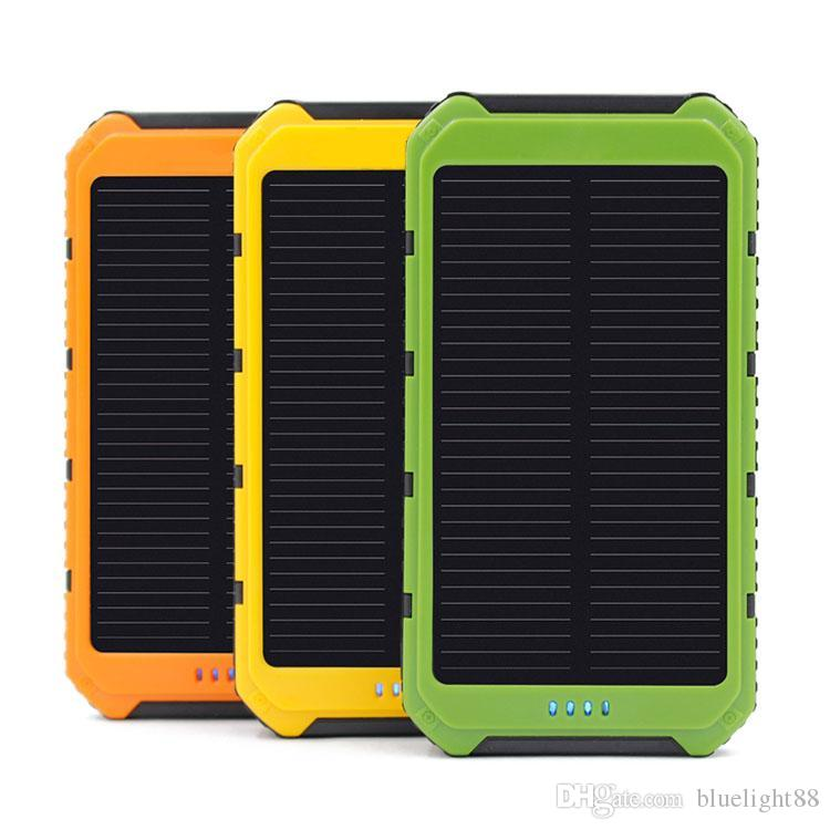 Hot 10000mAh Power Bank Ultra-thin Waterproof Solar Power Banks 2A Output Cell Phone Portable Charger Solar Powerbank Free shipping