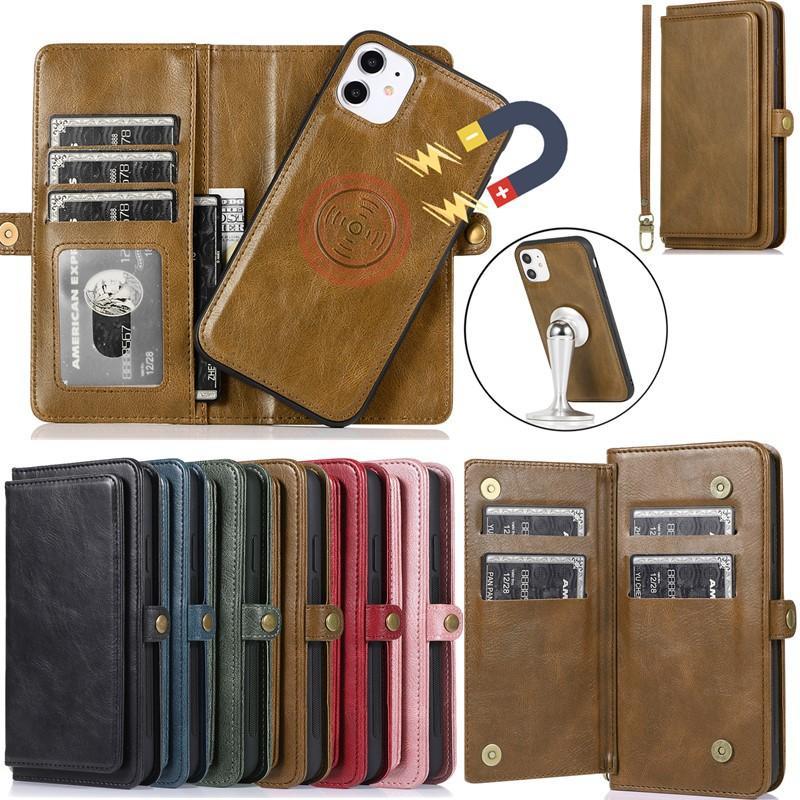 Multifonctions détachable Porte-monnaie en cuir PU carte fente cas de téléphone pour l'iPhone 11 Pro Max 11 XR Pro XS MAX 6 7 8 plus Samsung Note 10 S10 plus