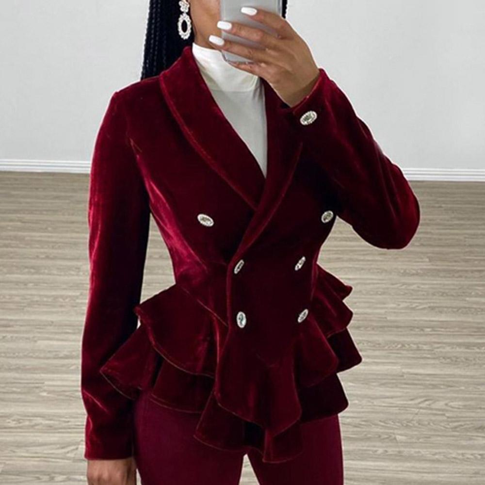 Winter Vintage Red Velvet Women Tailor Coat Jackets Elegant Office Ladies Peplum Ruffle Long Sleeve Slim Coats Female 2019