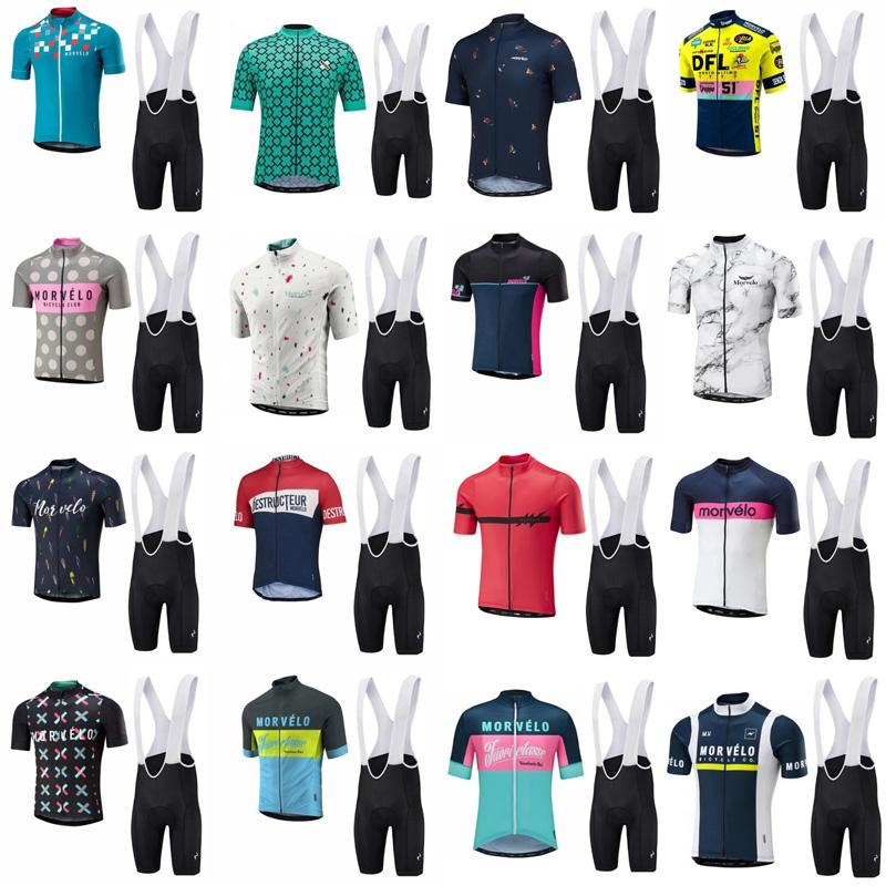 Morvelo 팀 사이클링 짧은 소매 유니폼 (BIB) 자전거 반바지 세트 MTB Sobycle Ropa Ciclismo Mens Pro 여름 자전거 타이틀러 착용 B613-21
